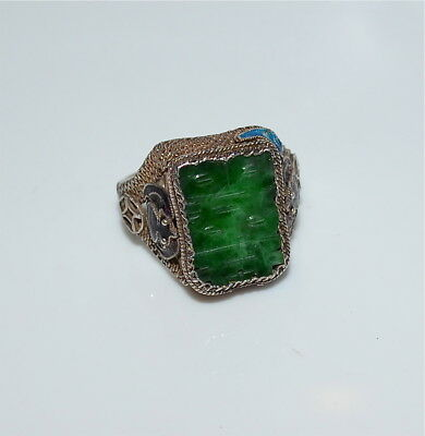 Old or Antique Chinese Carved Jadeite and Enameled Silver Ring Size 8 Adjustable