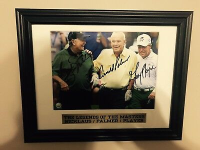 Masters ARNOLD PALMER JACK NICKLAUS GARY PLAYER Signed Autographed Framed photo