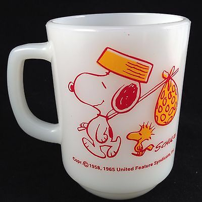 Vintage Anchor Hocking FIRE KING SNOOPY, COME HOME woodstock coffee cup mug 1965
