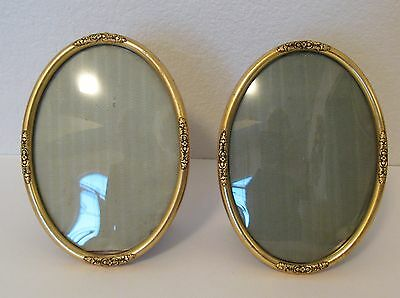 """1940's Antique Matching Pair Wood Carved Flower Gold Oval Picture Frame Small 6"""""""