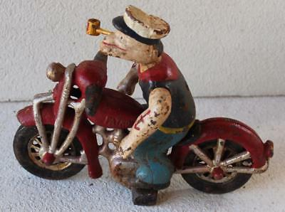 Cast Iron Popeye The Sailor Man Riding A Harley Davidson Motorcycle