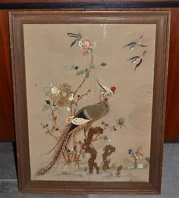 Antique Chinese Silk Embroidery Panel Pheonix Birds Flowers Rockwork FramedAS IS