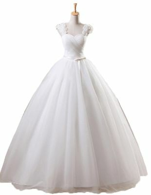 New Wedding Dress Portrait White/Ivory Bridal Gown Lace Custom Size 2-28+