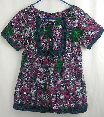 Koi by Kathy Peterson Navy Blue Pink Purple Green Floral Scrub Top Size S Small