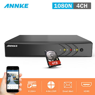 ANNKE 4TB Hard Disk 4CH 1080P Lite DVR Home Recorder Motion Smart Playback DN41R
