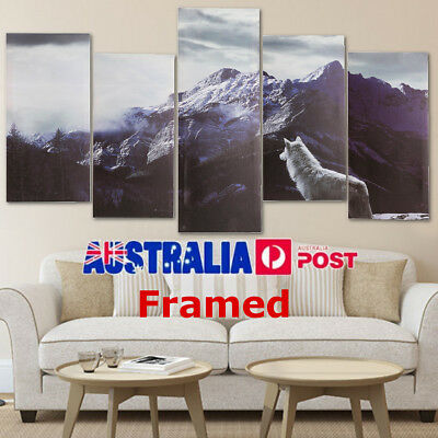 5Pcs Snow Mountain Wolf Canvas Print Art Painting Home Decor Wall Picture Framed