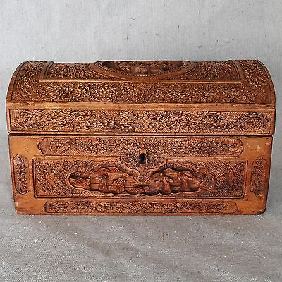Antique 19th Century Chinese Export Sandalwood Dome Box Finely Carved Chest 9.5""
