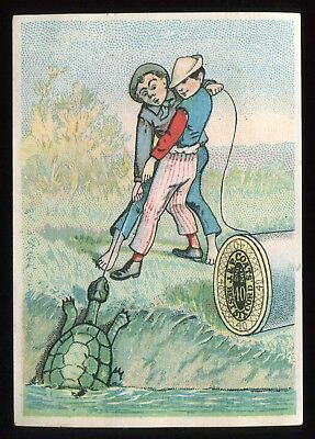 """Lot 46: 1880's J & P Coats Spool Cotton  """"Guy's Fishing for turtle"""" Trade Card"""