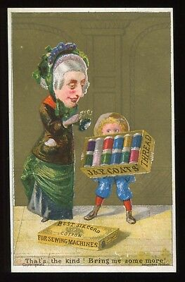 """Lot 50: 1880's J & P Coats Spool Cotton Sewing """"That's the Kind"""" Trade Card"""