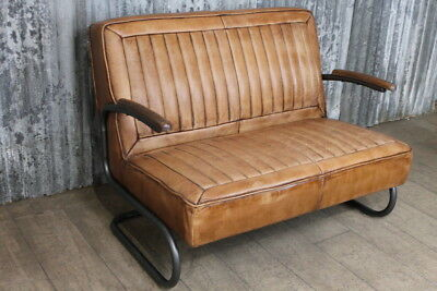 Two Seater Leather Car Seat Style Sofa Vintage Inspired Tan Leather Club Sofa