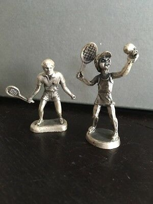 2x Pewter Tennis Players His And Hers Figurines