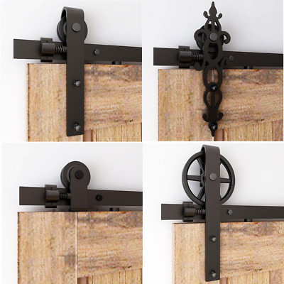 6-16FT Antique Sliding Barn Door Hardware Closet Track Kit, Single/Double/Bypass