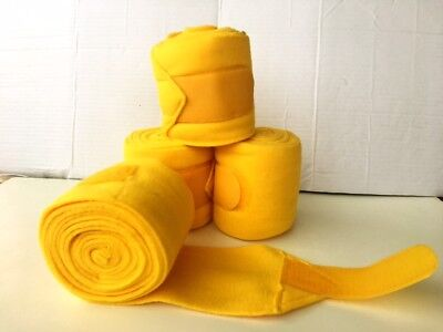Horse Bandages Polar Fleece Bandages  Yellow Fleece Leg Wraps  Set of 4
