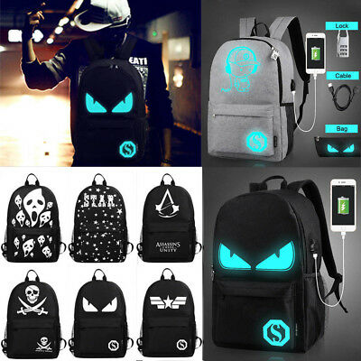 Luminous Noctilucent Teenager Backpack School Bags+Anti-theft Lock+USB Charger