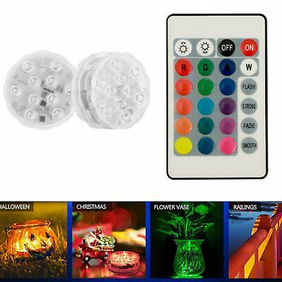 10 LED Multi Color RGB Submersible Waterproof Party Vase Light W/ Remote Control