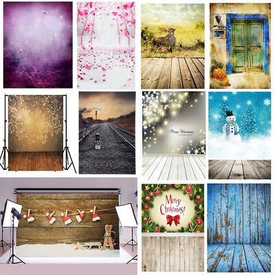 Christmas Theme Wood Wall Kids Vinyl Backdrop Photography Photo Props background