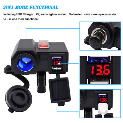 3 in 1 Motorcycle Cigarette Lighter Waterproof Dual USB Socket Plug Voltmeter