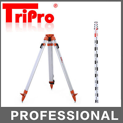 Heavy Duty Aluminum Tripod + 4M Laser Level Staff Kit Dumpy Level Rotary Level