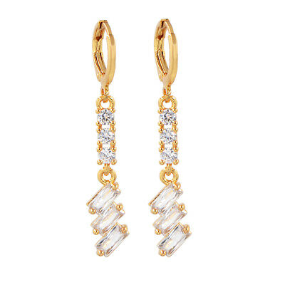 18K Gold Plated Clear Cubic Zirconia CZ Wedding Drop Dangle Earrings 02620 Party