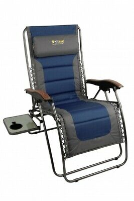 OZtrail Chair Arm with Side Table Sun Lounge Jumbo Recliner 150kg Camping Travel