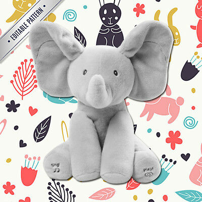 Babys Elephant Peek-A-Boo Pal Animated Flappy The Elephant Plush Toy with Music