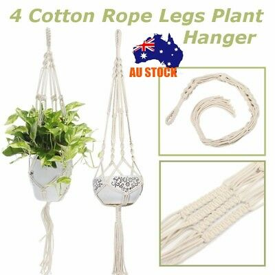 4 Cotton Rope Legs Plant Hanger Hanging Planter Basket Flower Pot Indoor Outdoor