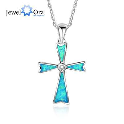 Fashion Cross Shape Necklace Solid Silver Opal Necklace Women Birthday Gifts