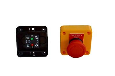 x 2 Emergency Stop, switch control, electrical 12V 24V E stop.