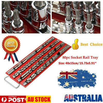 "2XUniversal 1/4"" 3/8"" 1/2"" SOCKET HOLDER ORGANISER METAL STORAGE RAIL RACK OZ"