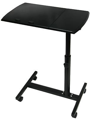New & Boxed Home Office Wooden Black Laptop Table Stand On Castors Wheels