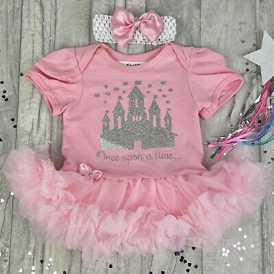 Silver DISNEY CASTLE PINK tutu romper BABY GIRL Newborn PRINCESS Love Gift Cute