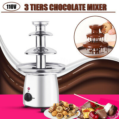 AU Chocolate Fountain Machine Fondue Maker Heated 3-Tier Household Party 110V