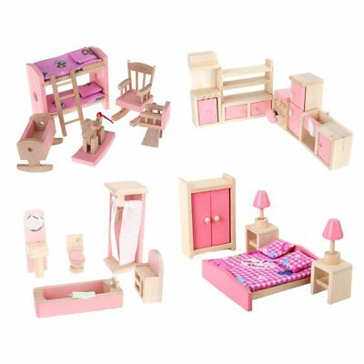 4 Set Wooden Dollhouse Furniture Kitchen Bathroom Bedroom Pretend Toys Gift
