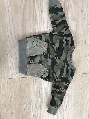 Baby Boys NEXT Army Jumper Size 3-6 Months, Good Used Condition!