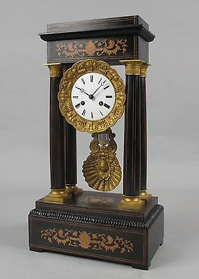 An original large antique rosewood inlayed French portico clock circa:1870