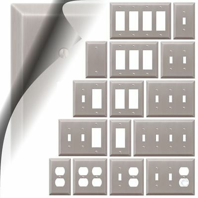 Switch Plate Cover Century Brushed Nickel Metal Wallplate Toggle Outlet Rocker