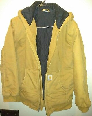 Carhartt Boys Duck Brown Insulated Quilted Hooded Coat/Jacket Size Large (14-16)