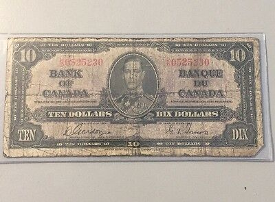 Beautiful 1937 Bank Of Canada $10 Note Canadian Bill Rare Currency Paper Money