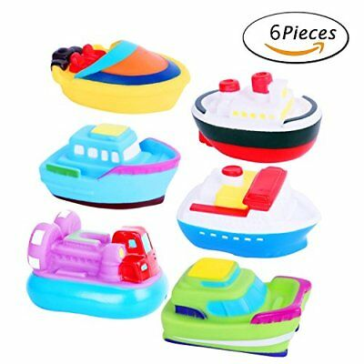 bath toys bathtime soft rubber floating boat squirting set for toddlers & kids –
