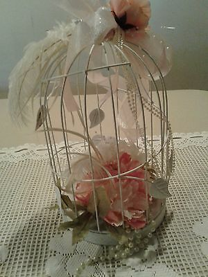 Shabby Chic Decorative Bird Cage Metal Wire Metal Base White With Dove On Top