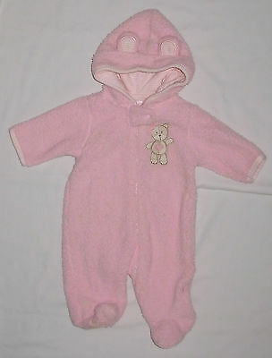 Hooded Pink Fleece 1-Piece Suit Baby Girl Size 3 Months