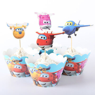 NEW 24pcs Super Wings 12 Cupcake Wrappers + 12 Toppers Birthday Party Decor