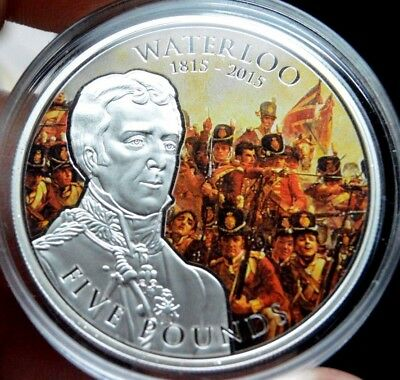 2015 Silver Proof Waterloo Five Pounds Guernsey British Commonwealth Crown Coin