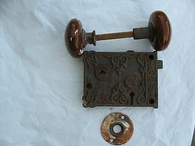 Antique C20 Rim Lock  Ornate late 1800's