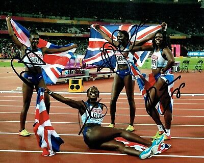 Womens Team GB SIGNED Olympic 4x100m Relay Medal Photo 1 AFTAL Autograph COA