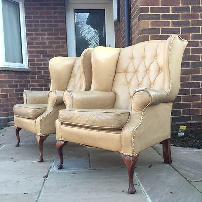 Chesterfield Wingback Leather Arm Chair (chair on the right)