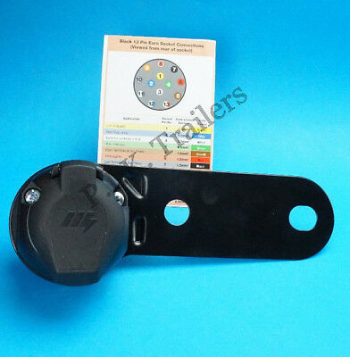 Professional Grade 13 Pin Towing Socket on Bracket with TWIN CABLE Entry Gasket
