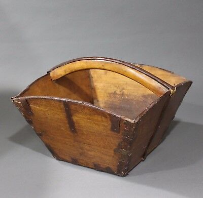 VINTAGE Asian Wooden Rice Basket With Dovetailed Seams And Hammered Metal Trim