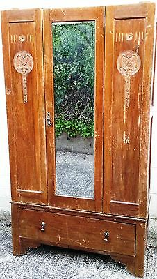 Vintage Wardrobe With Mirror Carved