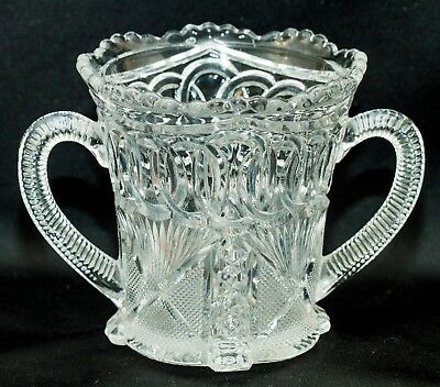 Antique EAPG~Cut Crystal Glass Spooner~Open Large Sugar~Beautiful Pattern~AS IS